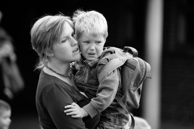 © Grégoire De Poorter - huilend kind - eerste schooldag